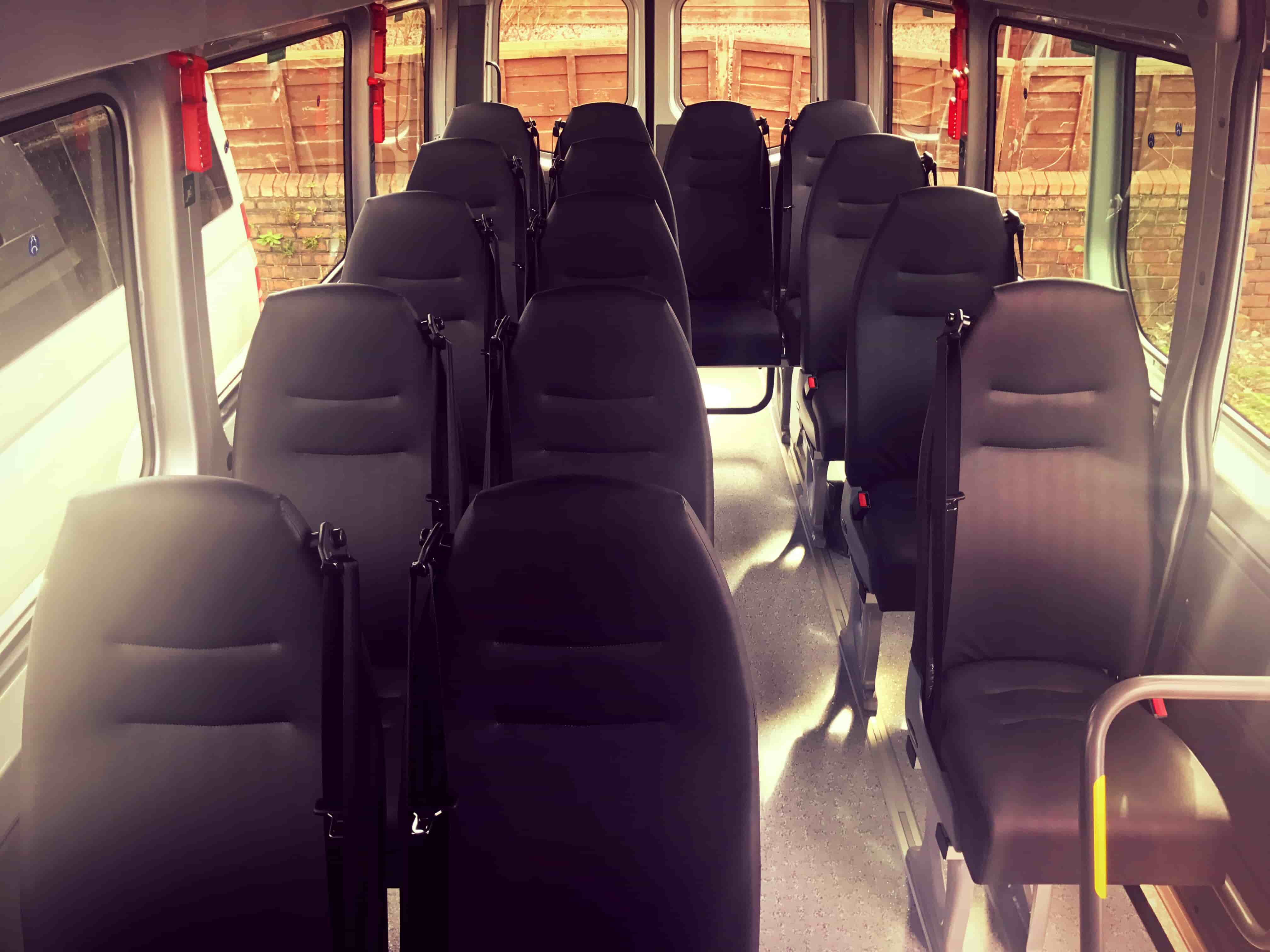 2017 Sprinter Minibus Hire inside view from front