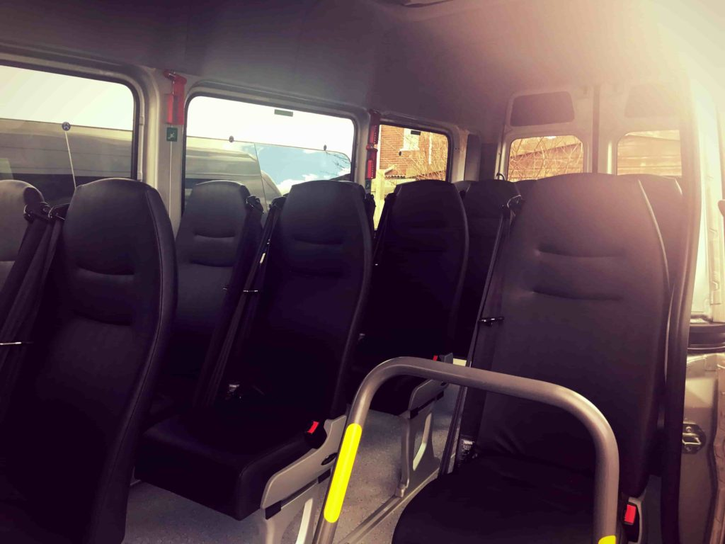 2017 Sprinter Minibus Hire inside view from side
