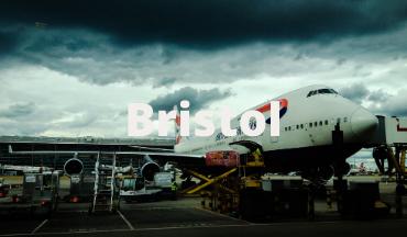 Aeroplane outside Bristol Airport