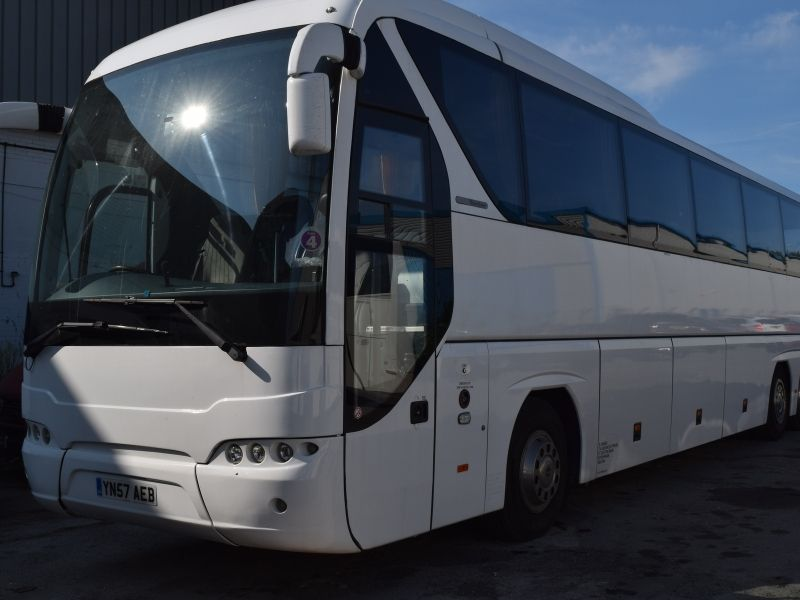 Exterior of 61 Seater Coach YN57 AEB, available to hire in Doncaster