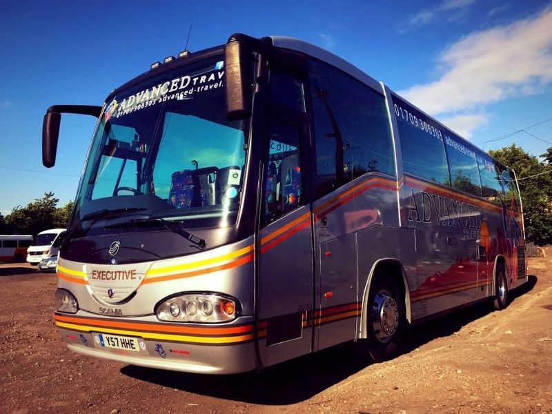 Exterior of 49 Seater Coach Y57 HHE, available to hire in Doncaster