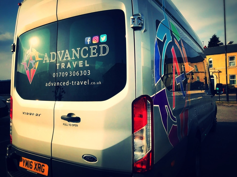 Ford Transit Minibus Hire Side Rear View