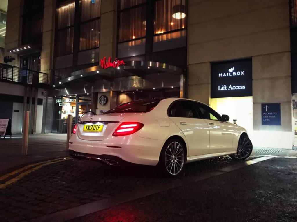 Mercedes-Benz-E-Class-Chauffeur-Hire-Hotel-Pickup-Rear