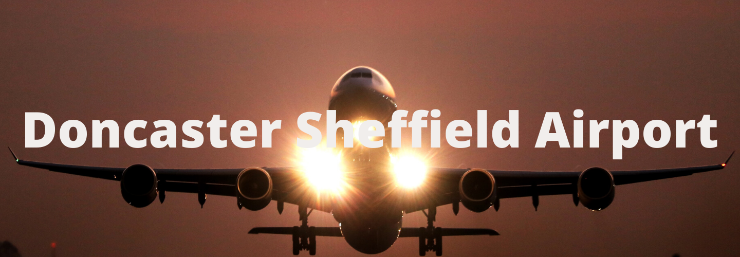 Minibus to Doncaster Sheffield Airport title image - a plane taking off from the runway