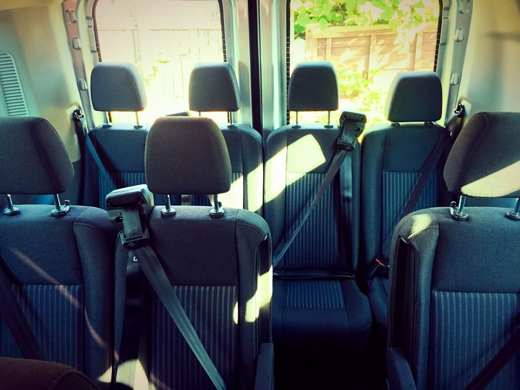 Seats of 2016 Ford Transit Minibus Hire